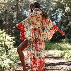 NWT Spell Delilah Patchwork Maxi Kimono OS